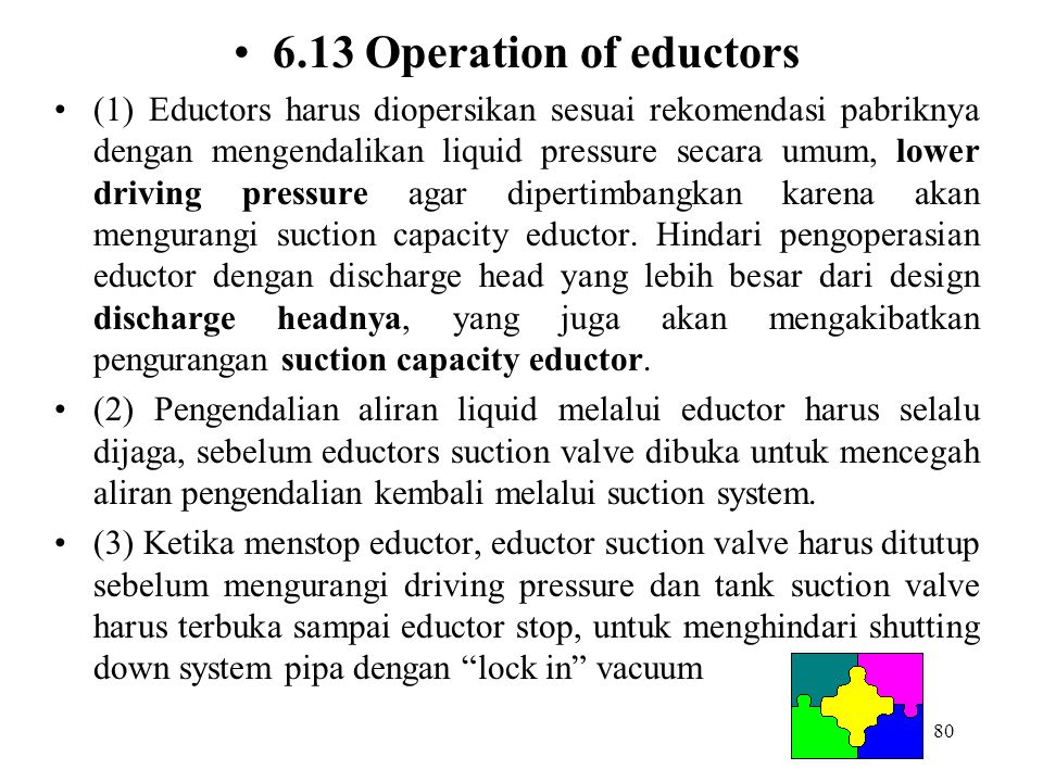 6.13 Operation of eductors