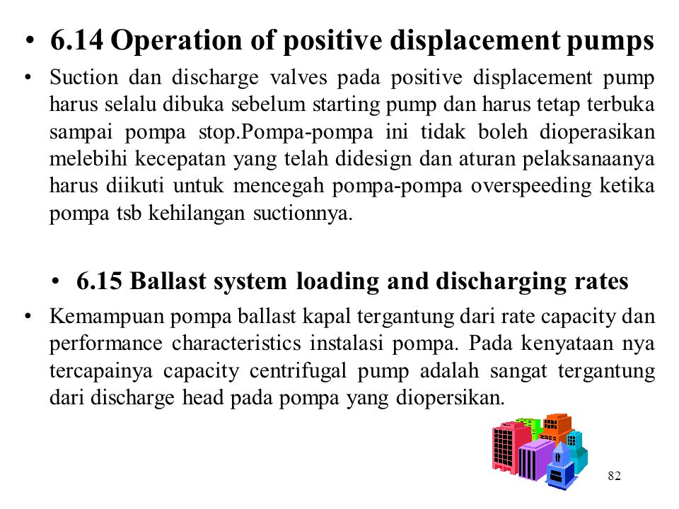 6.14 Operation of positive displacement pumps