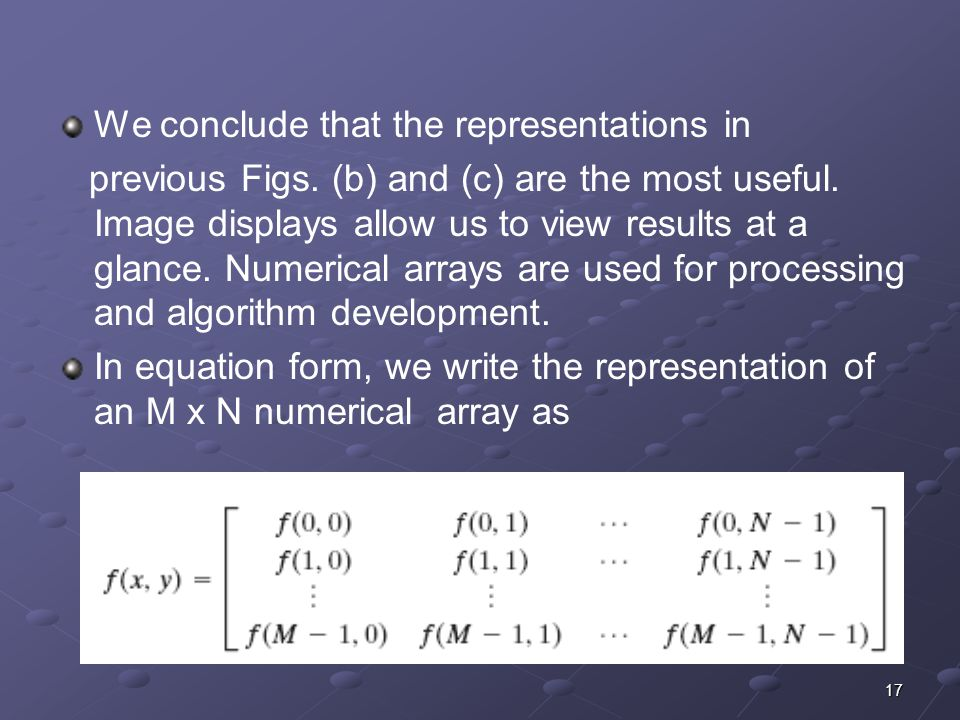 We conclude that the representations in