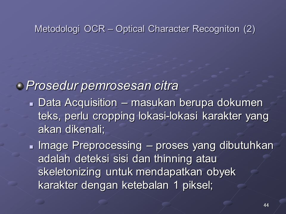 Metodologi OCR – Optical Character Recogniton (2)
