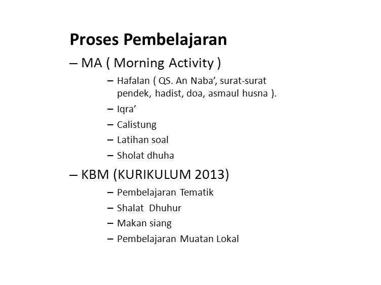 Proses Pembelajaran MA ( Morning Activity ) KBM (KURIKULUM 2013)