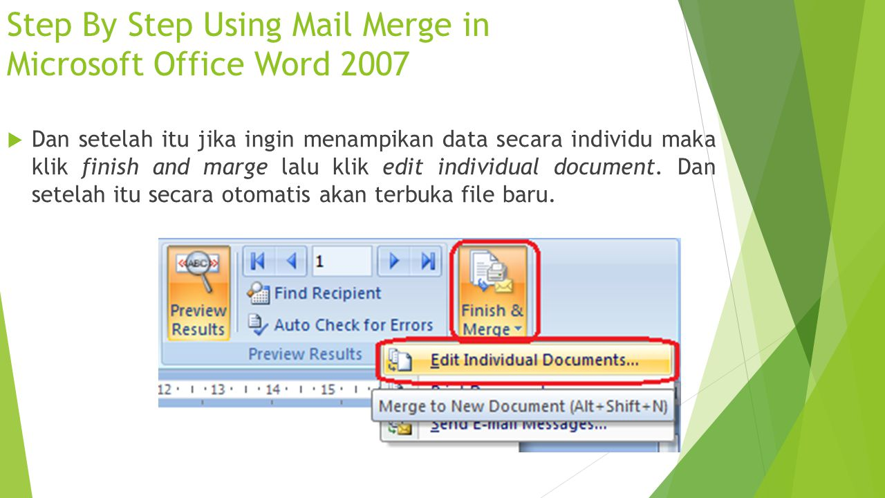 Step By Step Using Mail Merge in Microsoft Office Word 2007