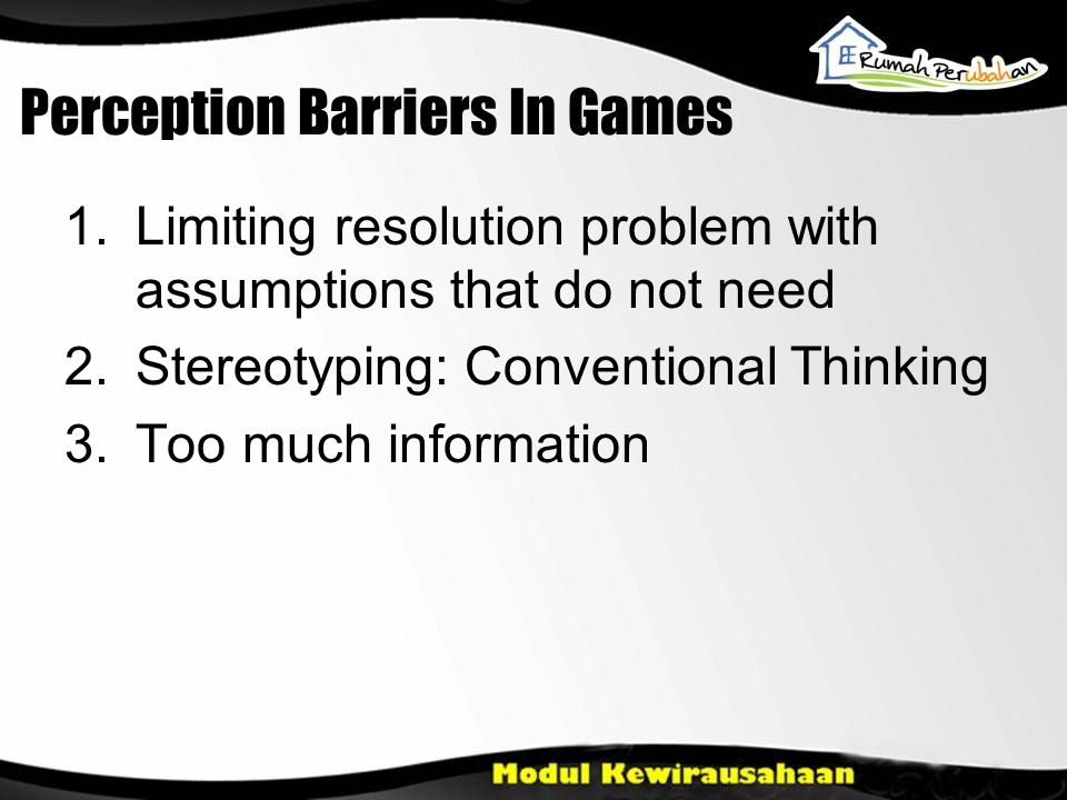 Perception Barriers In Games