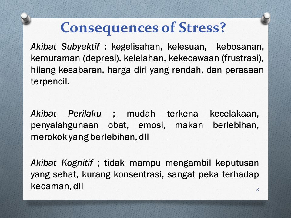 Consequences of Stress