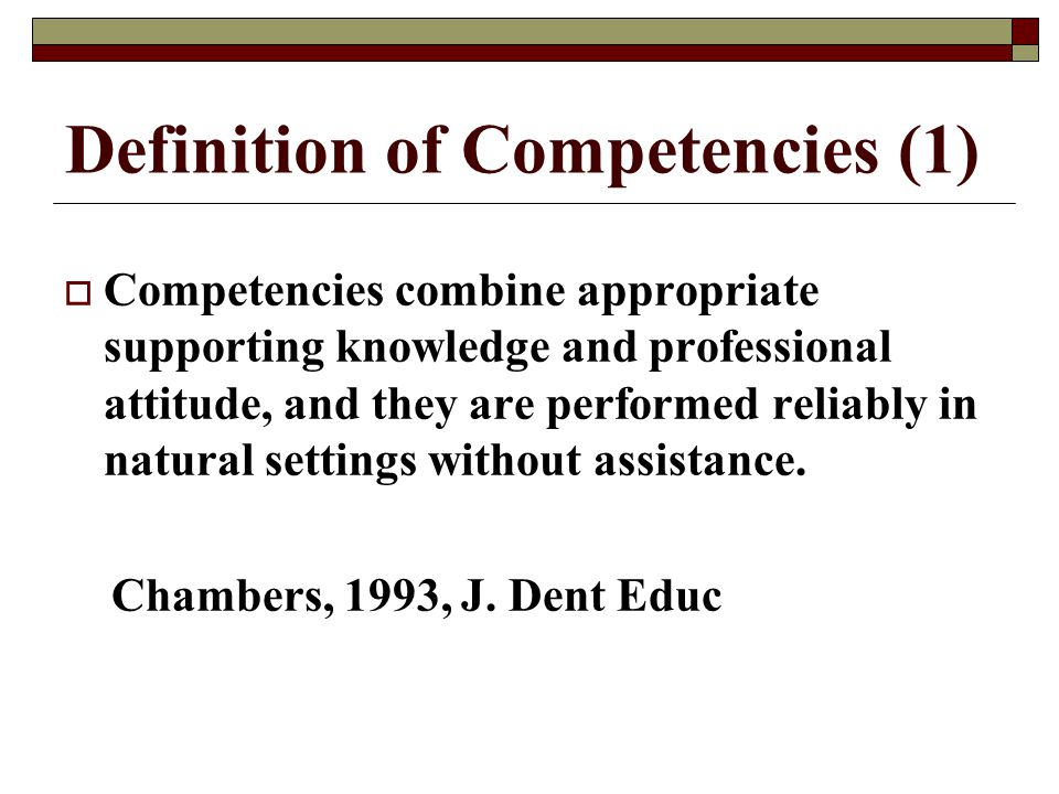 Definition of Competencies (1)