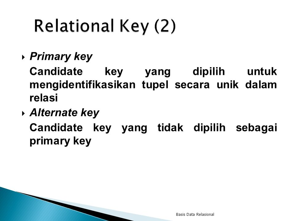 Relational Key (2) Primary key
