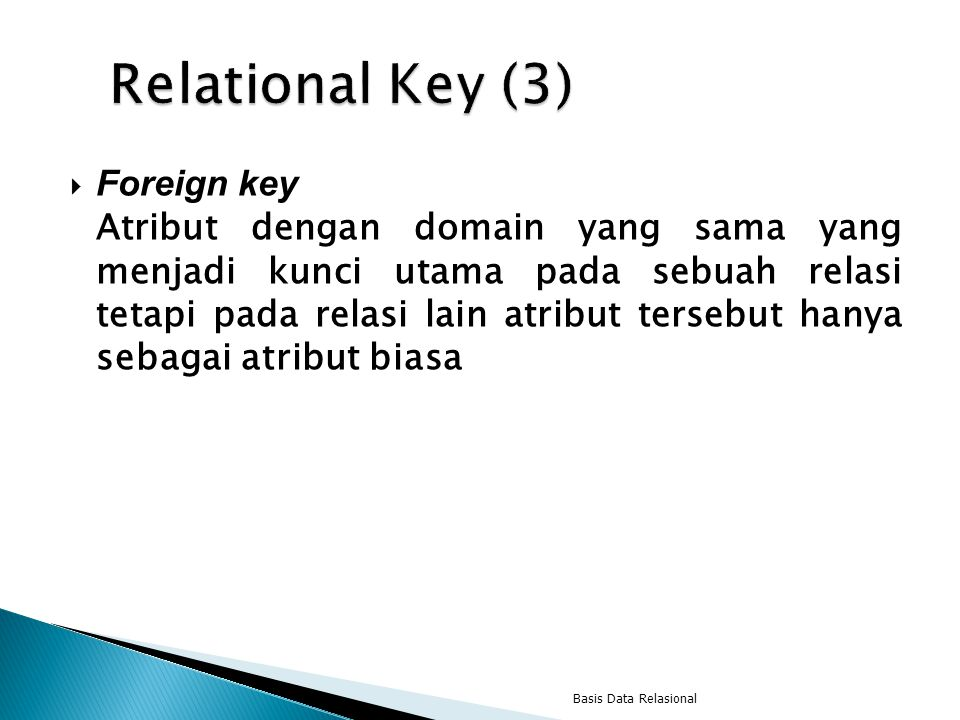 Relational Key (3) Foreign key
