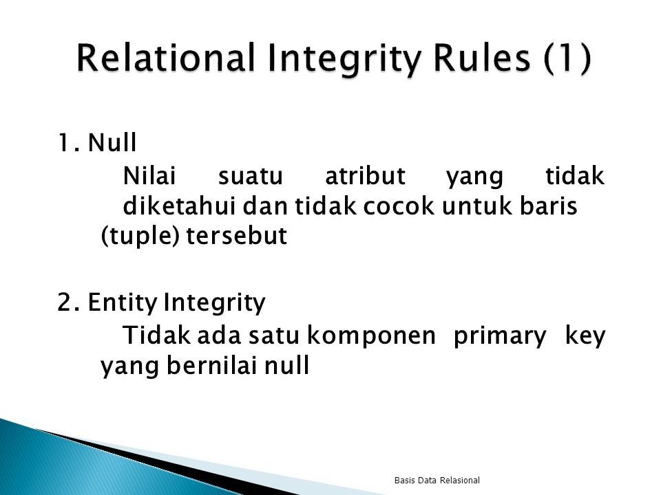 Relational Integrity Rules (1)