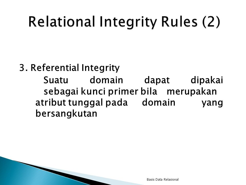 Relational Integrity Rules (2)