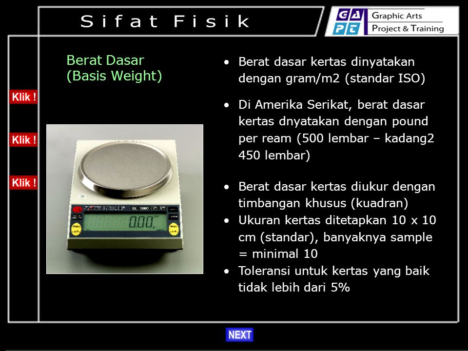 S i f a t F i s i k Berat Dasar (Basis Weight)