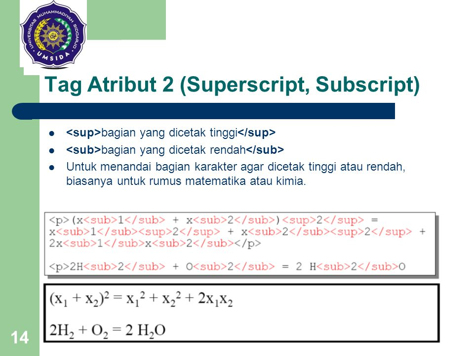 Tag Atribut 2 (Superscript, Subscript)