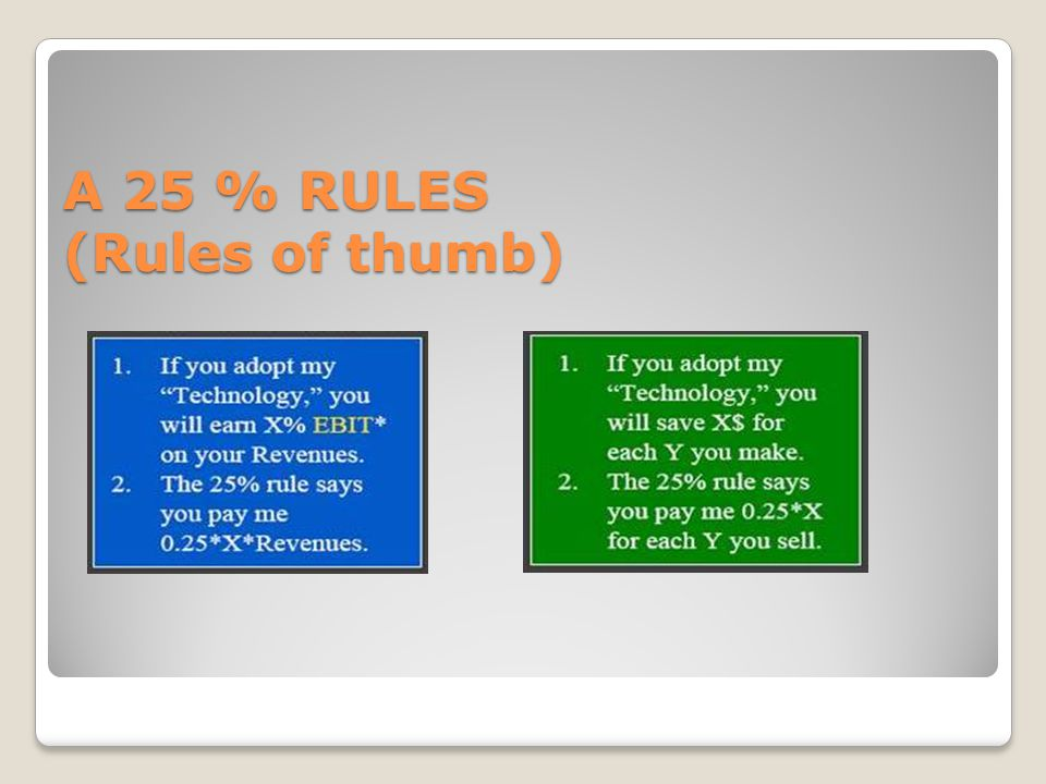 A 25 % RULES (Rules of thumb)