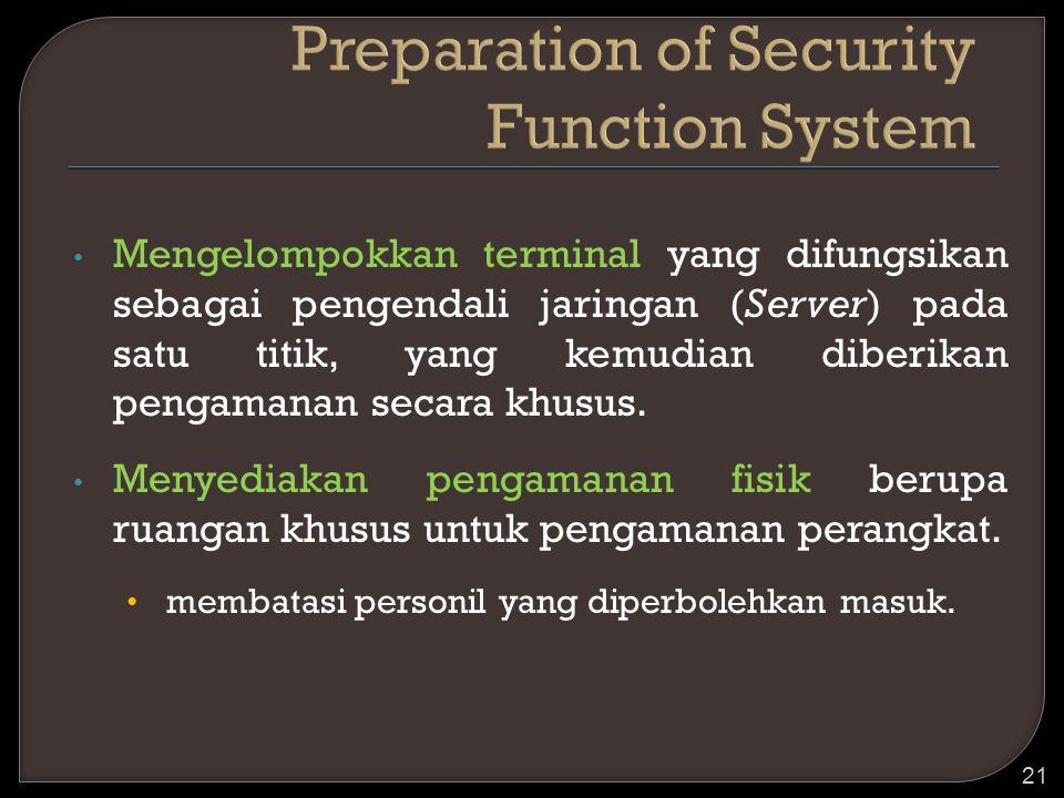 Preparation of Security Function System