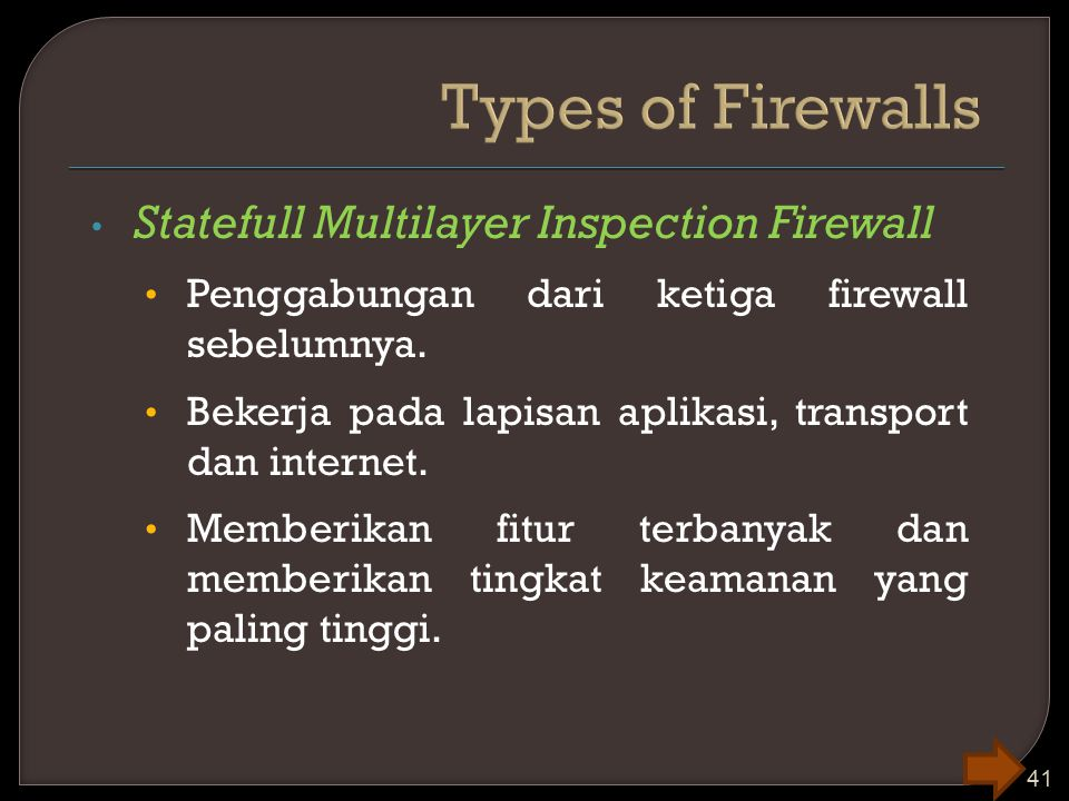 Types of Firewalls Statefull Multilayer Inspection Firewall