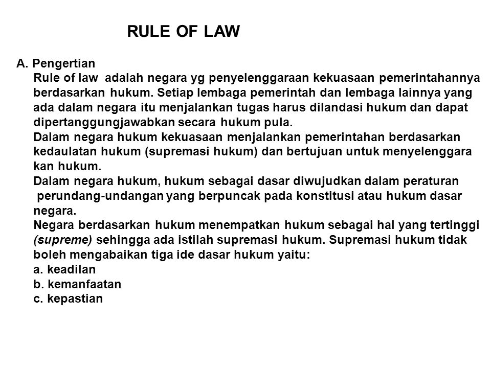 Rule Of Law A Pengertian Ppt Download