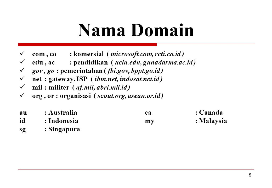 Nama Domain com , co : komersial ( microsoft.com, rcti.co.id )