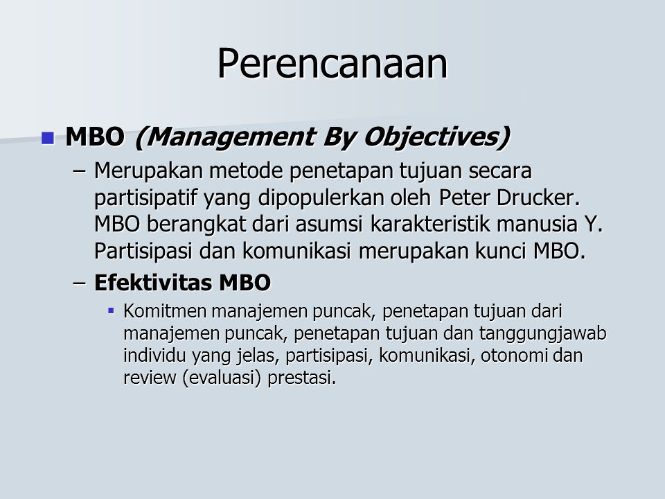 Perencanaan MBO (Management By Objectives)
