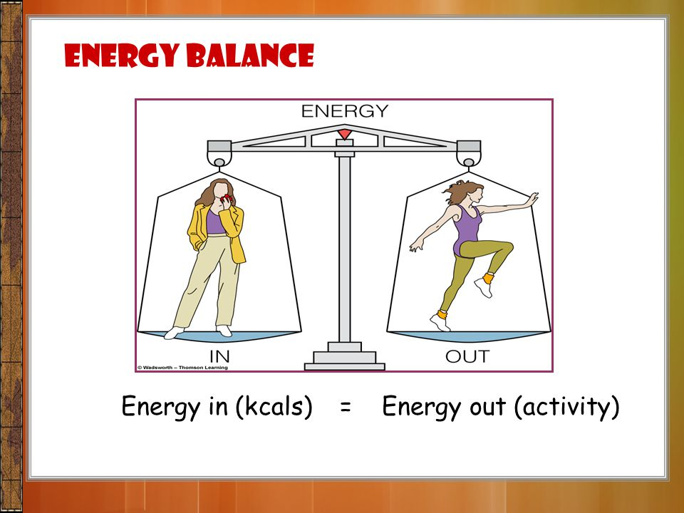 Energy Balance Energy in (kcals) = Energy out (activity)