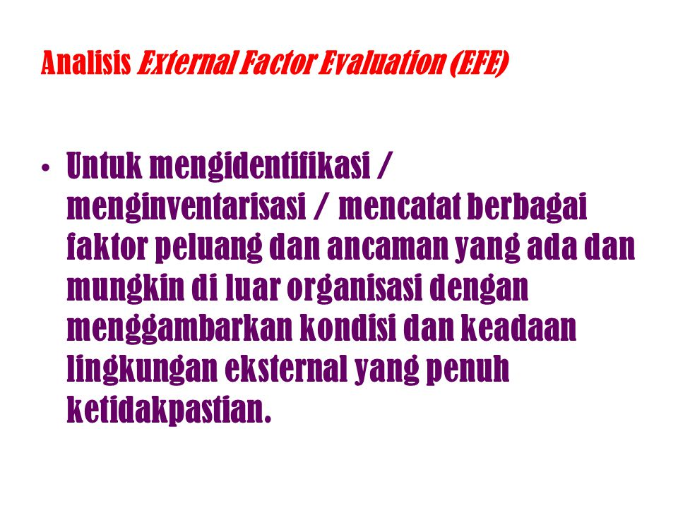 Analisis External Factor Evaluation (EFE)