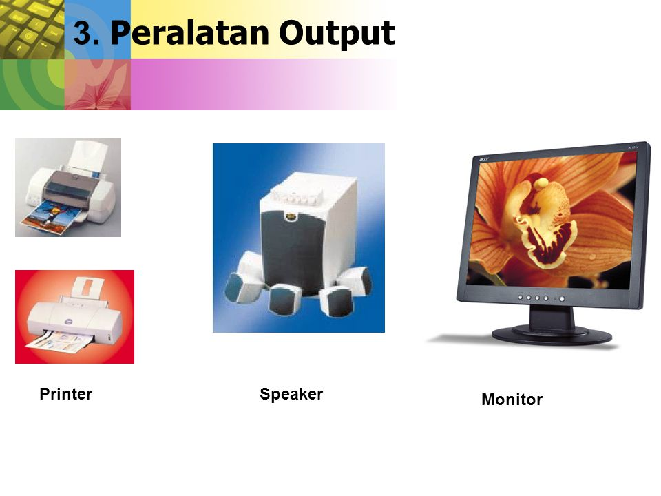 3. Peralatan Output Printer Speaker Monitor