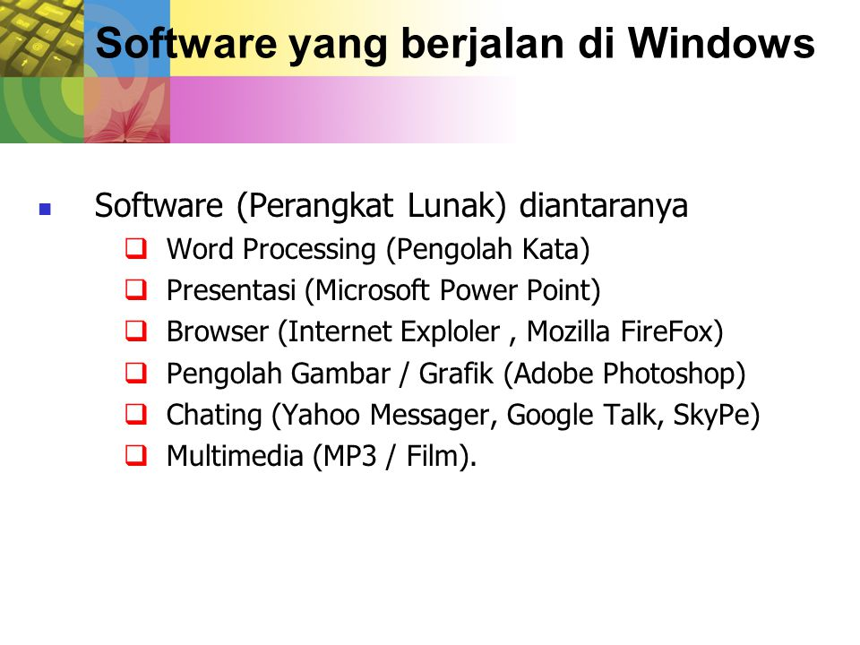 Software yang berjalan di Windows