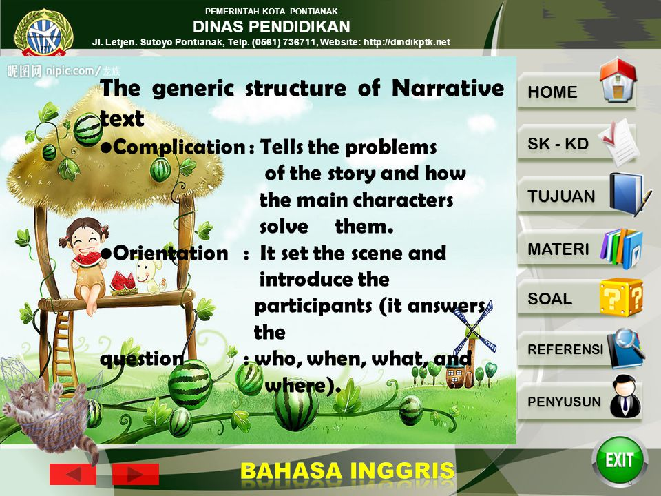The generic structure of Narrative text