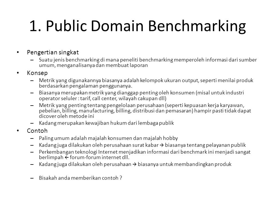 Memahami Pengertian Public Domain Benchmarking