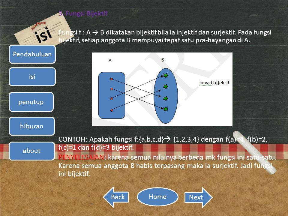 Relasi dan fungsi home pendahuluan isi penutup hiburan about back fungsi bijektif ccuart Image collections