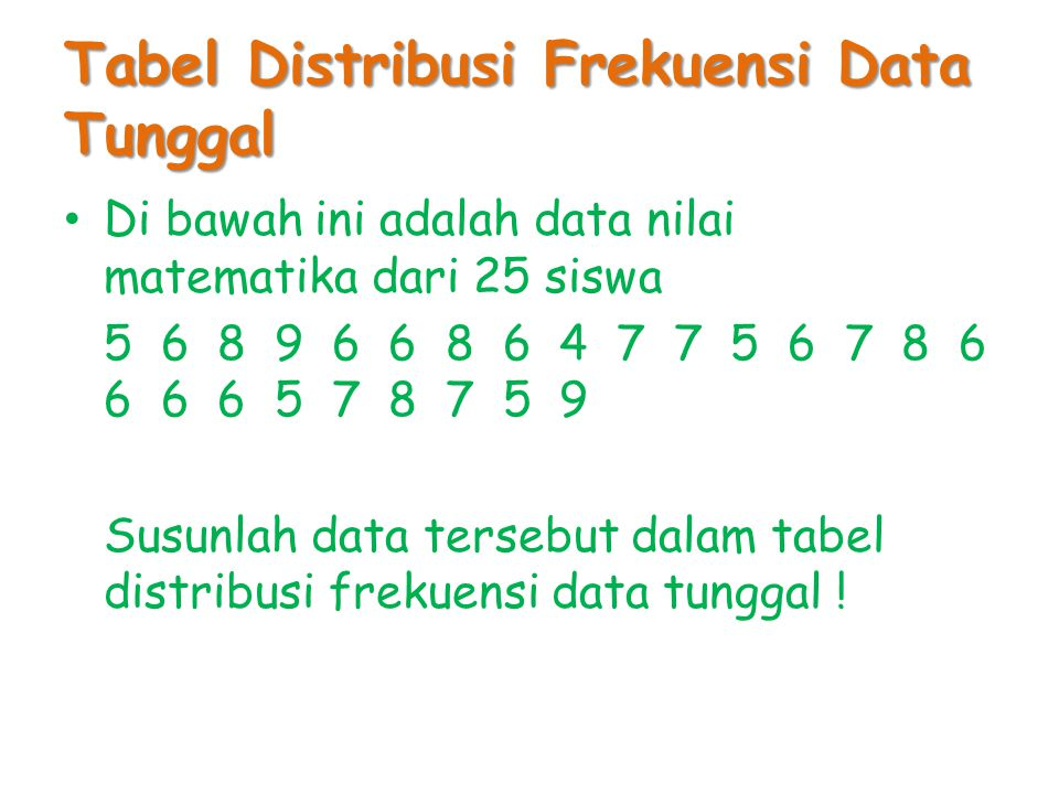 Tabel Distribusi Frekuensi Data Tunggal