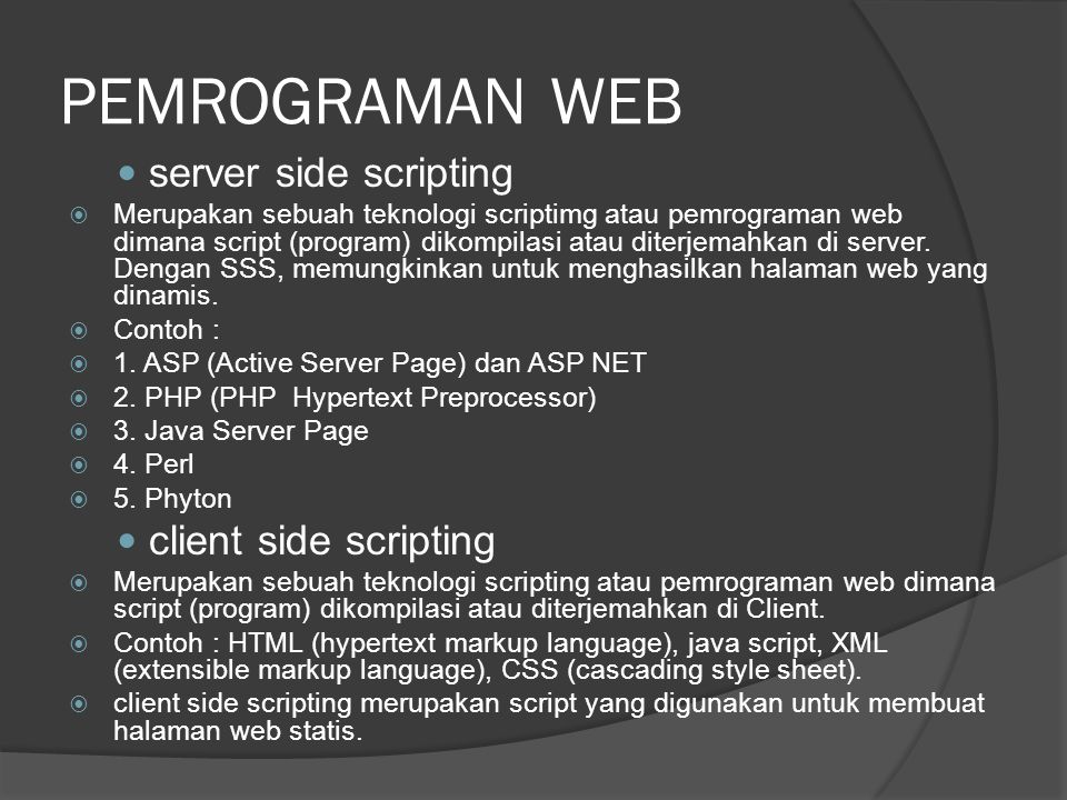 PEMROGRAMAN WEB server side scripting client side scripting