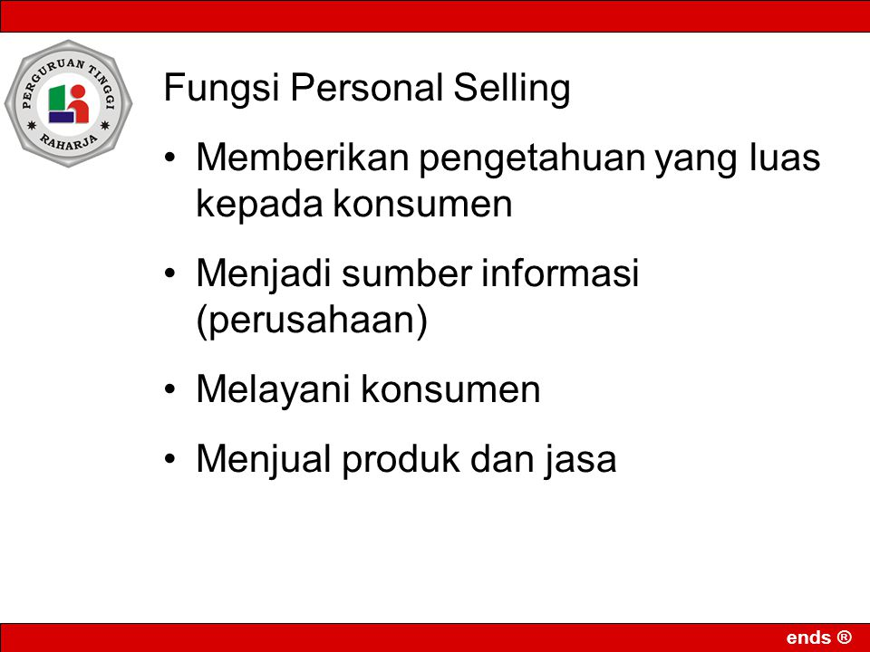 Fungsi Personal Selling