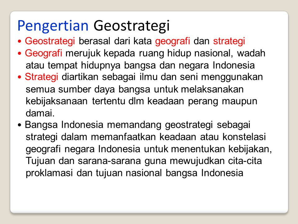 Pengertian Geostrategi