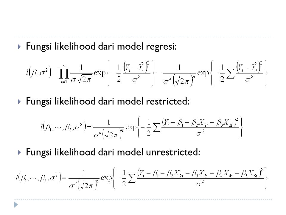 Fungsi likelihood dari model regresi: