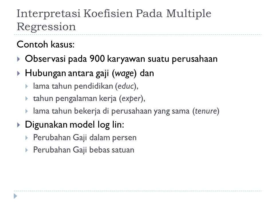 Interpretasi Koefisien Pada Multiple Regression