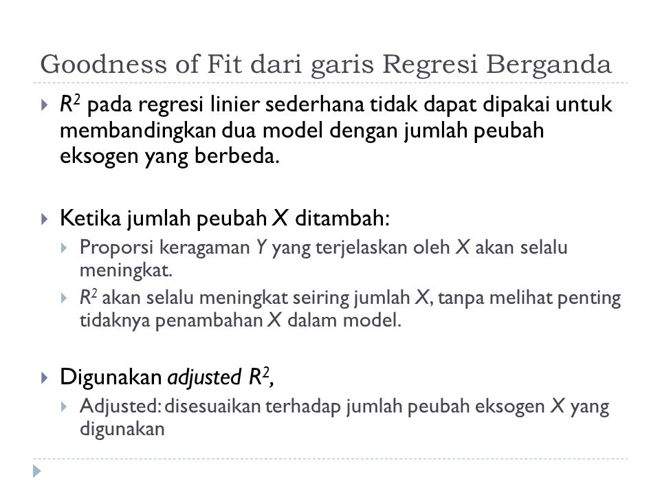 Goodness of Fit dari garis Regresi Berganda