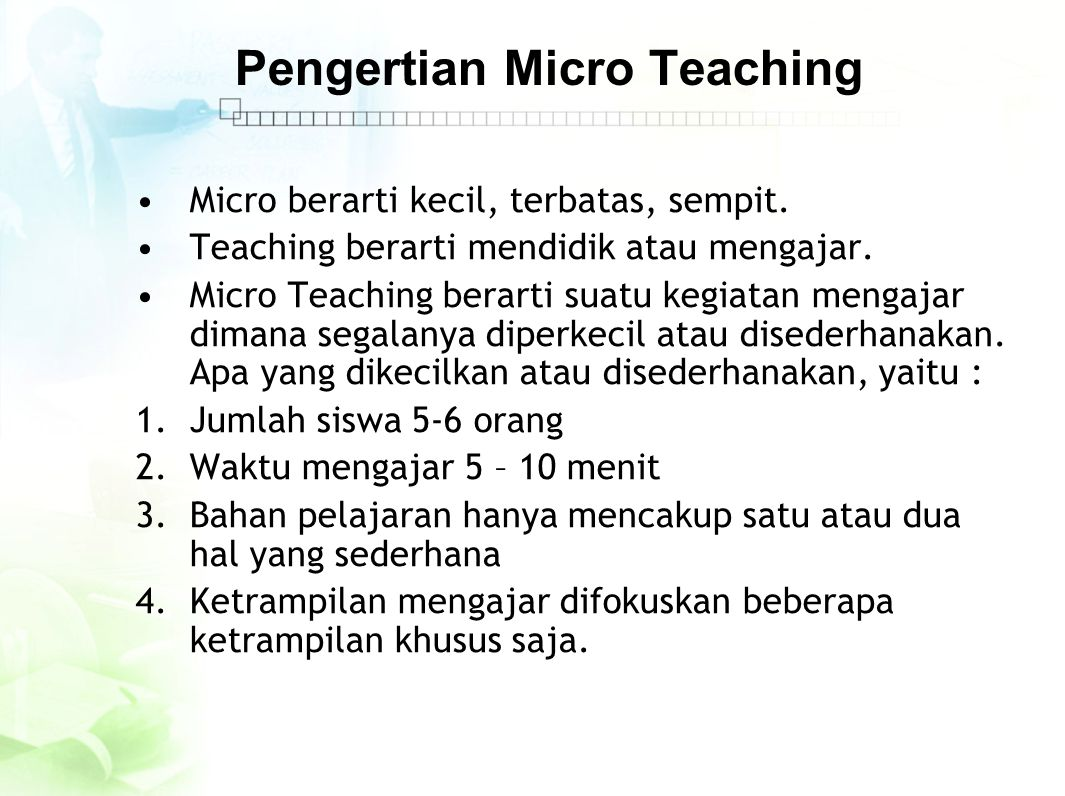 Pengertian Micro Teaching