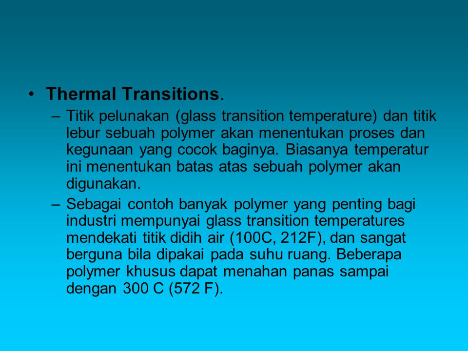 Thermal Transitions.