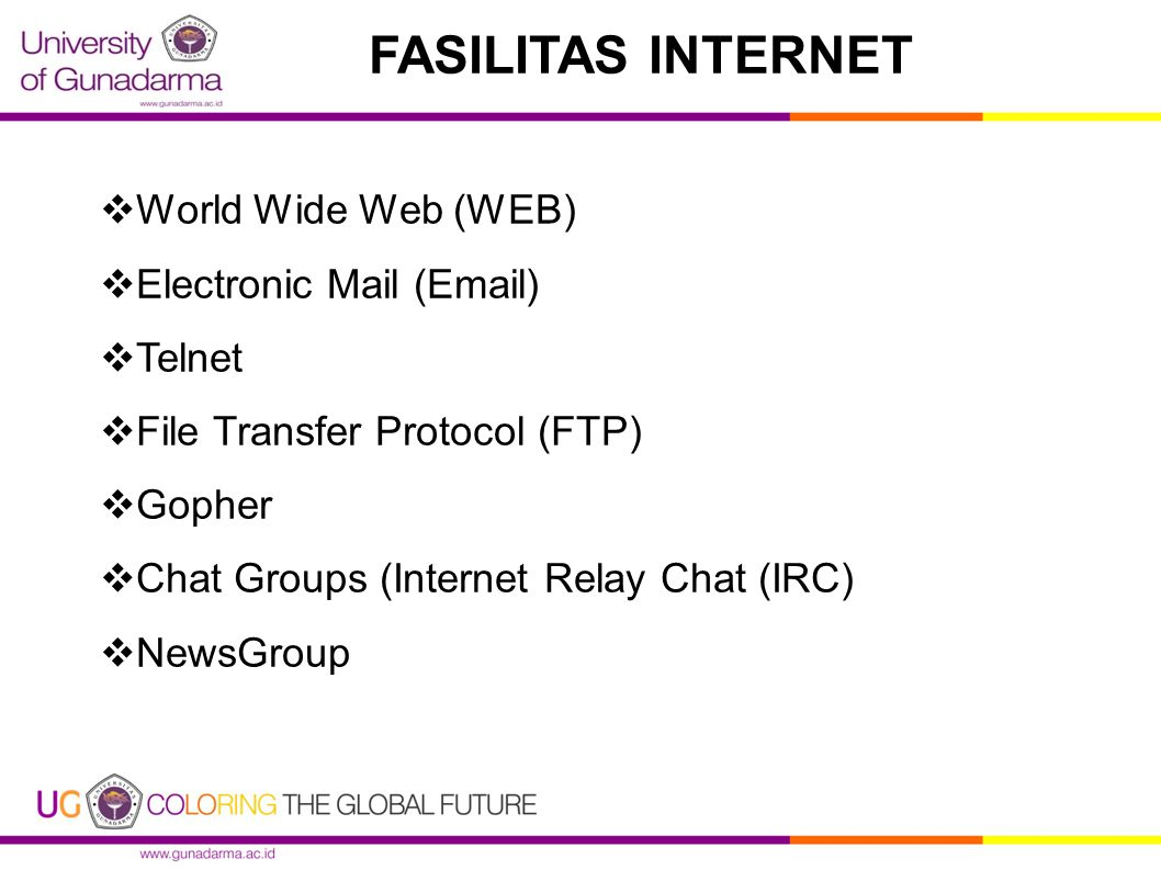 FASILITAS INTERNET World Wide Web (WEB) Electronic Mail ( ) Telnet