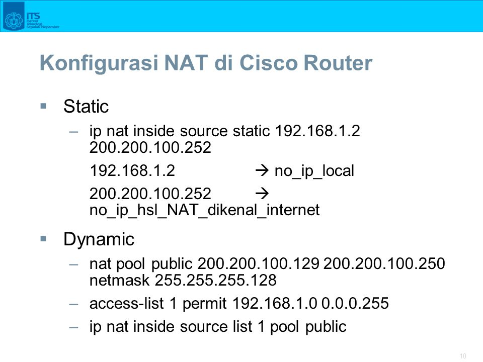 Konfigurasi NAT di Cisco Router