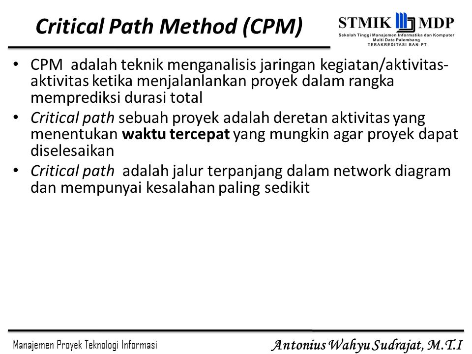 Manajemen waktu proyek ppt download critical path method cpm ccuart Images