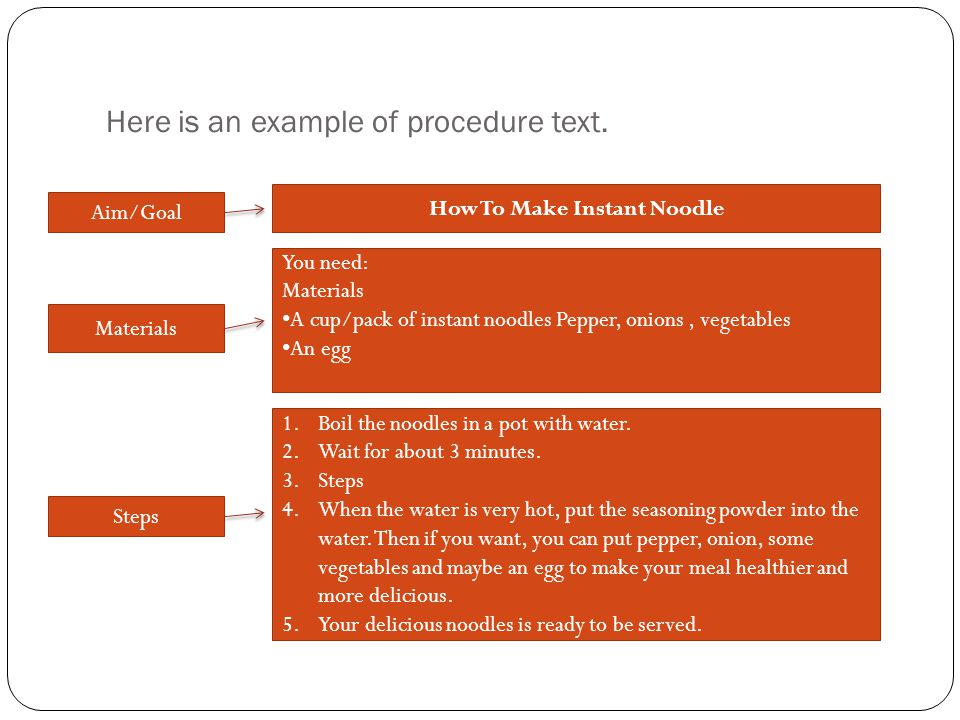 Here is an example of procedure text.