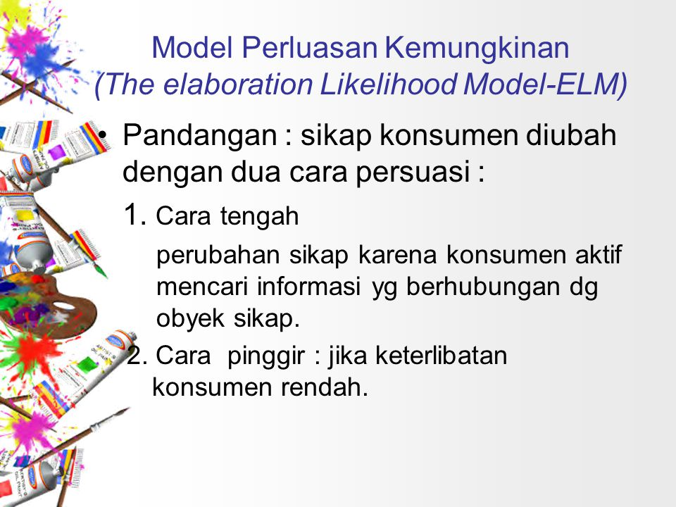 Model Perluasan Kemungkinan (The elaboration Likelihood Model-ELM)