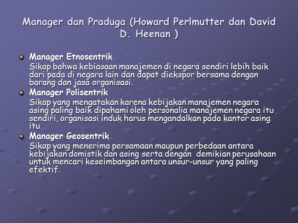 Manager dan Praduga (Howard Perlmutter dan David D. Heenan )