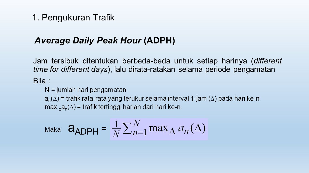 Average Daily Peak Hour (ADPH)