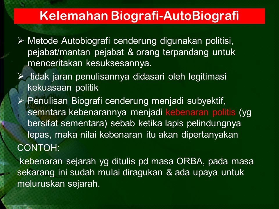 Metode Biografi Seminar 23 Oktober Ppt Download