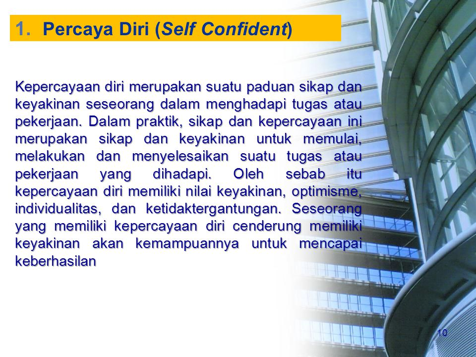 Percaya Diri (Self Confident)