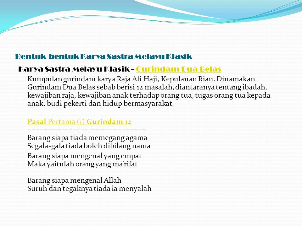 Bentuk Bentuk Karya Sastra Melayu Klasik Ppt Download