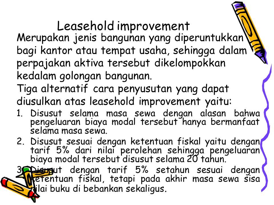 Leasehold improvement