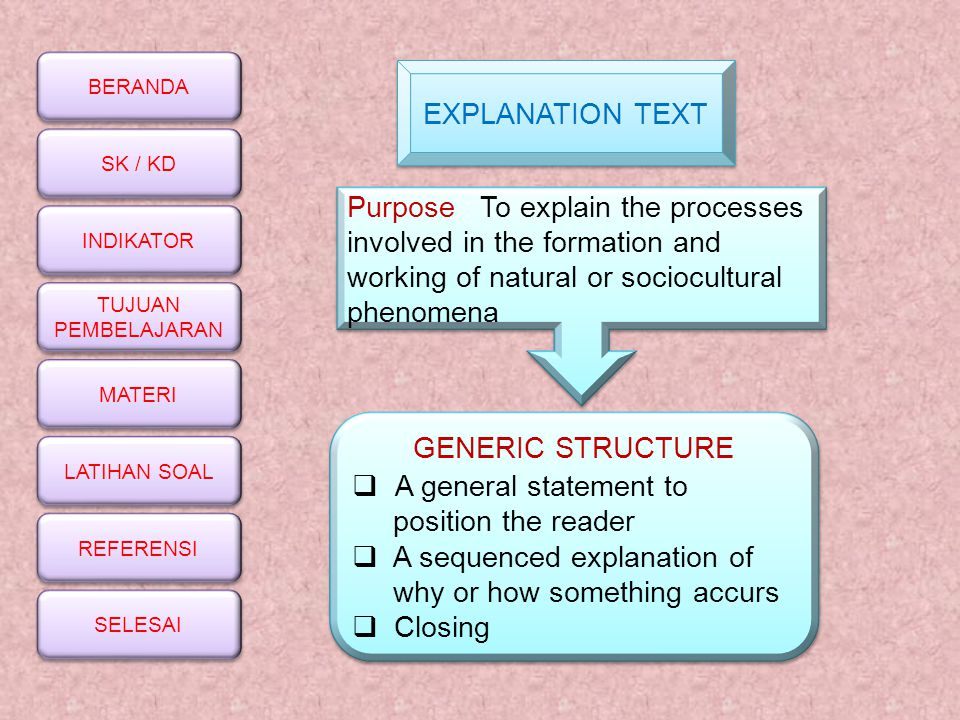EXPLANATION TEXT Purpose : To explain the processes involved in the formation and working of natural or sociocultural phenomena.