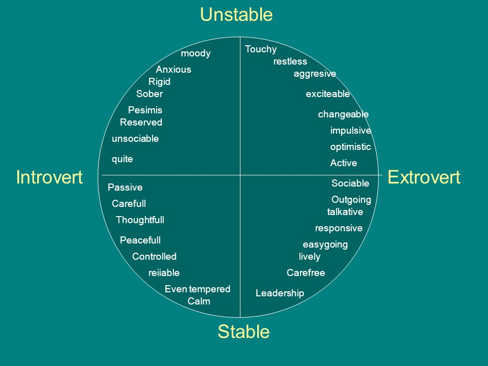 Unstable Introvert Extrovert Stable Touchy moody restless Anxious
